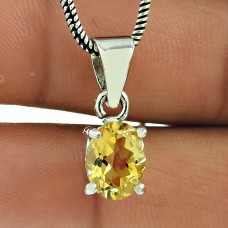 Handy Citrine Gemstone 925 Sterling Silver Fashion Pendant Jewellery