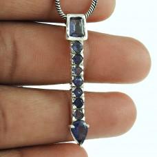 Dainty 925 Sterling Silver Iolite Gemstone Pendant Vintage Jewellery