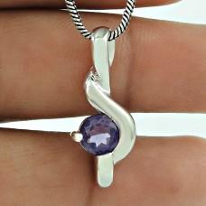 Lovely Amethyst Gemstone Indian Sterling Silver Pendant 925 Jewellery