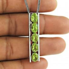 Party Wear Peridot Gemstone 925 Sterling Silver Pendant Jewellery