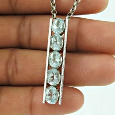Rare Blue Topaz Gemstone 925 Sterling Silver Pendant Vintage Jewellery