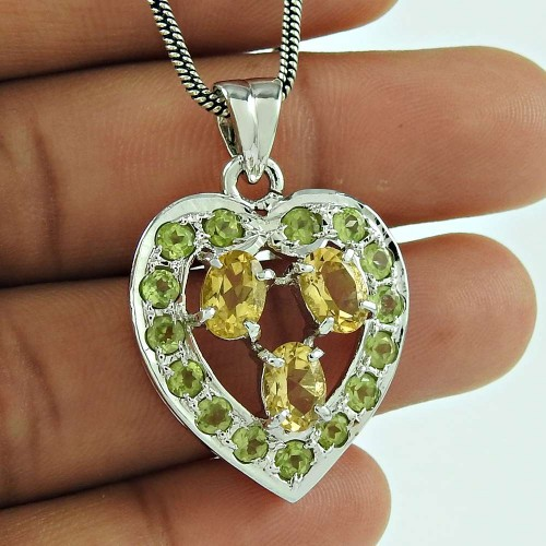 Citrine Peridot Gemstone Heart Pendant 925 Sterling Silver Jewellery