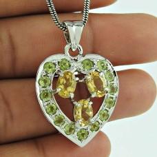 Heart Shape 925 Sterling Silver Citrine Peridot Gemstone Pendant Jewellery