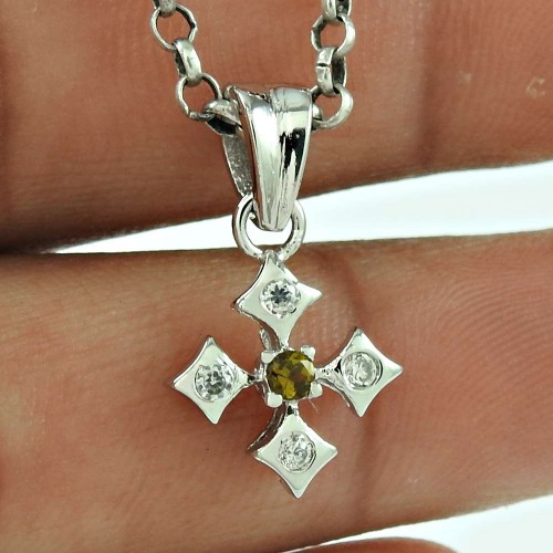 Scenic CZ Gemstone 925 Sterling Silver Pendant Jewellery