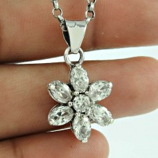 Classic CZ Gemstone 925 Sterling Silver Pendant Jewellery