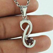 Charming Garnet Gemstone 925 Sterling Silver Vintage Pendant Jewellery