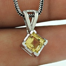 Lovely Citrine Gemstone Indian Sterling Silver Pendant Jewellery