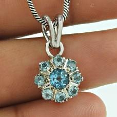 Scrumptious Blue Topaz Gemstone 925 Sterling Silver Pendant Jewellery