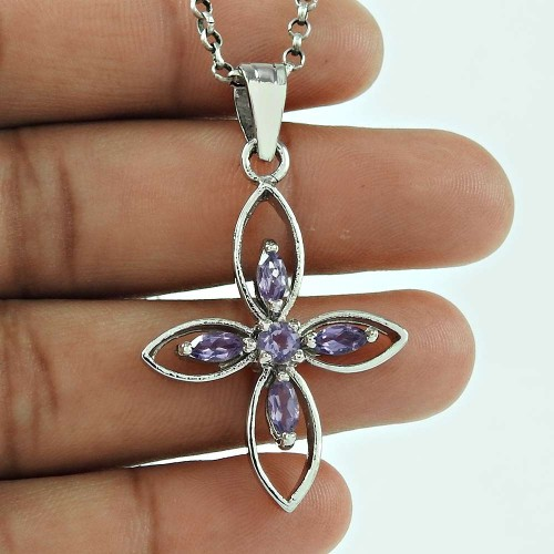 Lustrous Amethyst Gemstone 925 Sterling Silver Fashion Pendant Jewellery