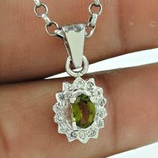 Dainty CZ Gemstone 925 Sterling Silver Vintage Pendant Jewellery