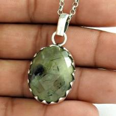 Placid 925 Sterling Silver Prehnite Gemstone Pendant