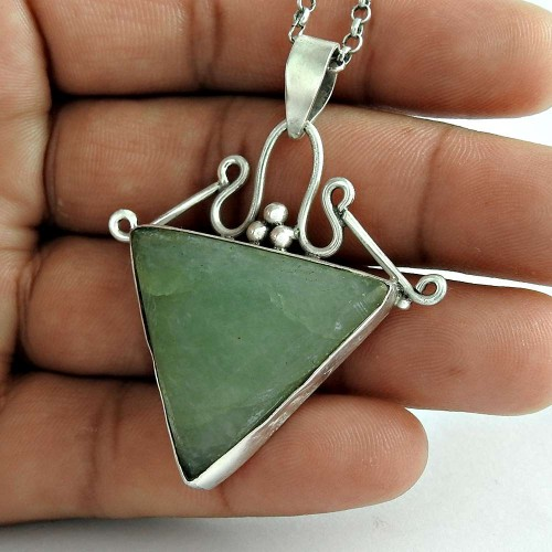 Secret Design 925 Sterling Silver Prehnite Gemstone Pendant