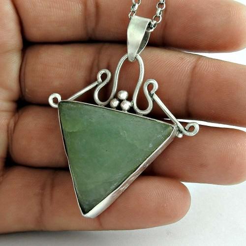 Secret Design 925 Sterling Silver Prehnite Gemstone Pendant