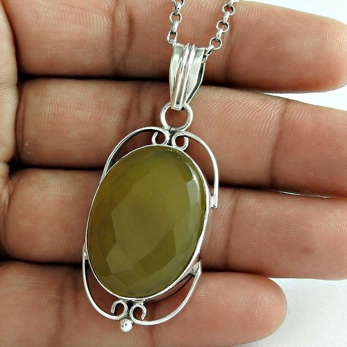 Antique Look 925 Sterling Silver Jasper Gemstone Pendant