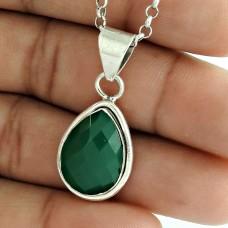 Classy 925 Sterling Silver Green Onyx Gemstone Pendant