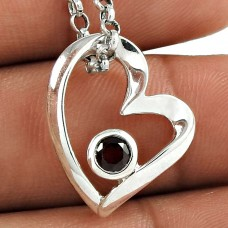 Excellent 925 Sterling Silver Garnet Gemstone Heart Pendant