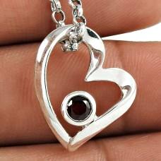 Pleasant 925 Sterling Silver Garnet Gemstone Heart Pendant
