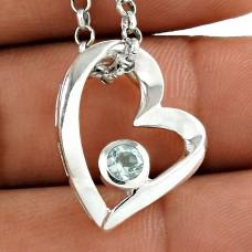 Big Amazing 925 Sterling Silver Blue Topaz Gemstone Heart Pendant