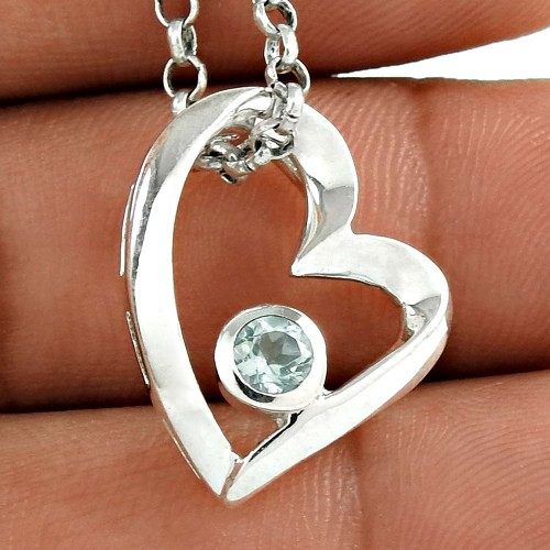 Big Amazing 925 Sterling Silver Blue Topaz Gemstone Heart Pendant