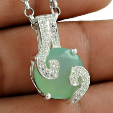 Unique Design 925 Sterling Silver Chalcedony CZ Gemstone Pendant