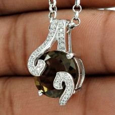 925 Sterling Silver Smoky Quartz CZ Gemstone Women Fashion Pendant