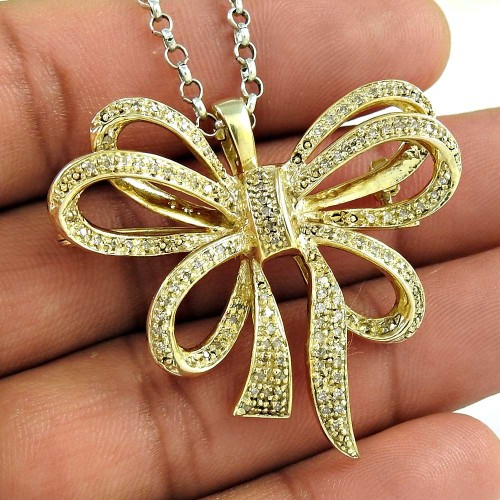 Gold Plated 925 Sterling Silver CZ Gemstone Antique Pendant and Brooch