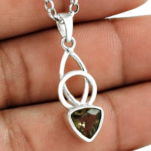 Simple 925 Sterling Silver Smoky Quartz Gemstone Pendant