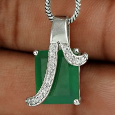 Big Excellent 925 Sterling Silver Green Onyx CZ Gemstone Pendant