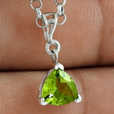 Big Fabulous 925 Sterling Silver Peridot Gemstone Pendant
