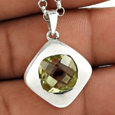 Small Design 925 Sterling Silver Lemon Topaz Gemstone Pendant