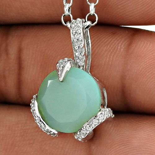 Beautiful Look 925 Sterling Silver Chalcedony CZ Gemstone Pendant