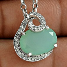 Classy Style 925 Sterling Silver Chalcedony CZ Gemstone Pendant