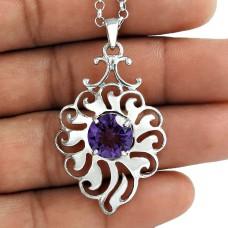 Popular Design 925 Sterling Silver Amethyst Gemstone Pendant