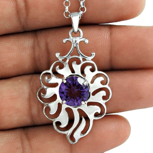 Popular Design 925 Sterling Silver Amethyst Gemstone Pendant