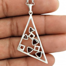 Big Design 925 Sterling Silver Garnet Gemstone Pendant