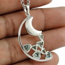 Created 925 Sterling Silver Blue Topaz Gemstone Moon Pendant