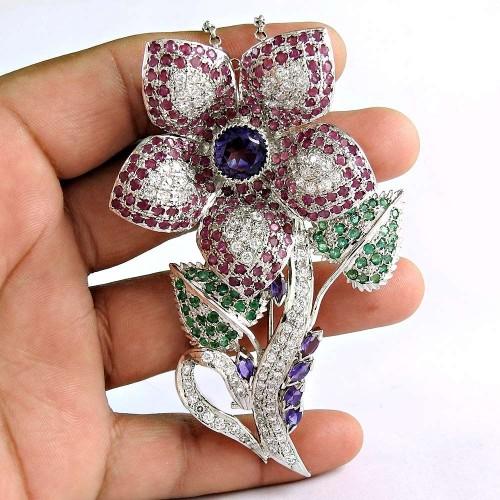 925 Sterling Silver Amethyst CZ Ruby Emerald Gemstone Flower Pendant and Brooch