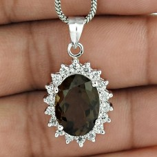 Lovely Jewelry 925 Sterling Silver Rhodium Plated Smokey Quartz & CZ Pendant