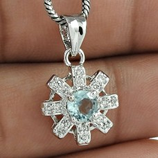 High Finish 925 Sterling Silver Blue Topaz & CZ Gemstone Rhodium Plated Pendant