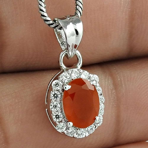Love Charm 925 Sterling Silver Carnelian With CZ Gemstone Rhodium Plated Pendant