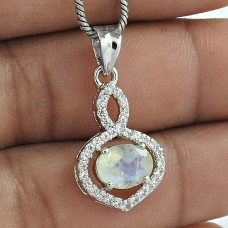 Joyful Rainbow Moonstone With CZ 925 Sterling Silver Jewelry Rhodium Plated Pendant