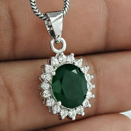 Luxurious Wedding Jewelry 925 Sterling Silver Green Onyx Gemstone With CZ Rhodium Plated Pendant