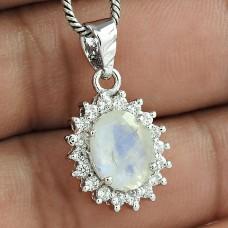 Luxurious Wedding Jewelry 925 Sterling Silver Rainbow Moonstone Gemstone With CZ Rhodium Plated Pendant
