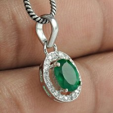 High Quality Silver Jewelry 925 Sterling Silver Green Onyx Gemstone With CZ Rhodium Plated Pendant