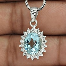 Prominent Jewelry 925 Sterling Silver Blue Topaz Gemstone With CZ Rhodium Plated Pendant