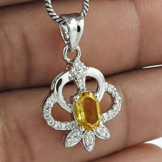 Headmost Trends 925 Sterling Silver Citrine Gemstone With CZ Rhodium Plated Pendant