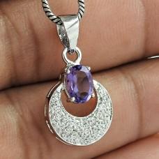 Classy Fashion Jewelry 925 Sterling Silver Garnet Gemstone & CZ Rhodium Plated Pendant