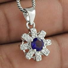 New Design 925 Sterling Silver Blue Topaz Gemstone With CZ Rhodium Plated Engagement Silver Pendant