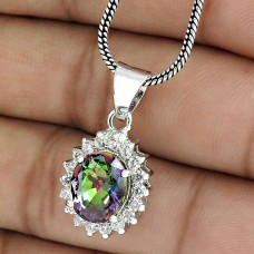 Trendy Rhodium Plated 925 Sterling Silver Mystic CZ Gemstone Pendant Jewelry