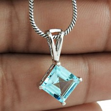 Latest Trend Rhodium Plated 925 Sterling Silver Blue Topaz Gemstone Pendant Vintage Jewelry